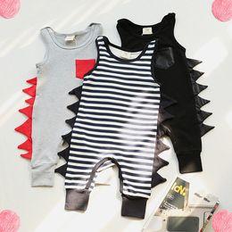 Wholesale Harem Zebra - Ins Owlbaby Baby Rompers Summer Dinosaur Rompers Boy's Animal Jumpsuit Harem Pants Toddler Infant Outwear Kids Clothes Children Clothing