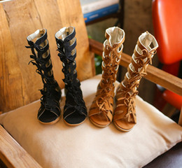 Wholesale New Casual Children Gladiator Sandals Kids Girl Summer Shoe High Quality Boots Sandals Colors Sliver Gold Black Size Pick Sizes