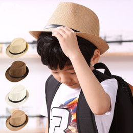Wholesale Cowboy Leather Belts - Unisex Kids Panama Hat With Leather Belt Summer Beach Trilby Hats Straw Sunhat Children Soild Fedora Cap For Boy And Girl