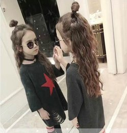 Wholesale Girl Sweater Star - 2017 Autumn New Baby Girl Knitting sweater hole five-pointed star long pullover Children Clothes 317533