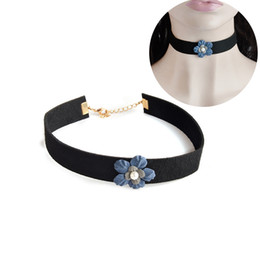 Wholesale Pearl Necklace For Flower Girls - Black Velvet Ribbon Choker Necklace For Women Girl Gothic Trendy Blue Flower Pearl Collar Collier Chain Selfie Jewelry Gifts