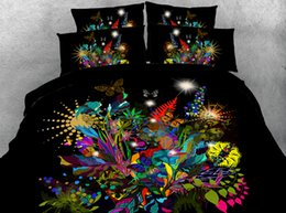 Wholesale Black Flower Comforter - Black Flower Garden 3D Printed Bedding Sets Twin Full Queen King Size Duvet Cover Set Pillow Shams Comforter Butterfly Galaxy Lotus Animal