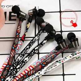 Wholesale Trend Shoes Wholesale - 2017 newest arrive Creative Trends Graffiti Design Braided Wiring Headphones Overweight Bass Phone Universal Talking Shoes In-Ear Earphone