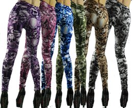 Wholesale Tattoo Looking Leggings - Wholesale- Wholesale SEXY Women Punk Rock Gothic Faux Jeans Sexy Skull Jeans Look Leggings Tattoo Pants Summer Autum With Good Quality