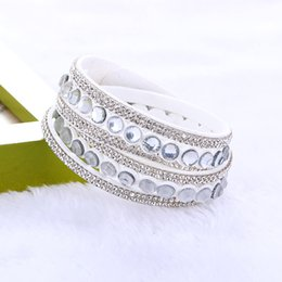 Wholesale Trendy Wrap Bracelets - Wholesale- Newest Trendy Big Crystal & Rhinestone Long Wrap Leather Bangles Bracelets Jewelry for Women Gift Bohemian Multilayer Bracelets