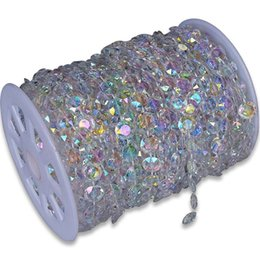 Wholesale Acrylic Crystal Bead Garland - 30m DIY Iridescent Garland Diamond Acrylic Crystal Beads Strand Shimmer Wedding decoration free shipping