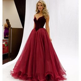 Wholesale Runway Dresses For Girls - Burgundy Long Prom Dresses 2017 for Girls Special Occasion Velvet Organza Sexy Sweetheart Zipper Runway Formal Evening Party Gowns