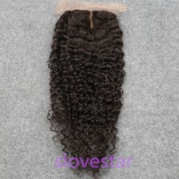 Wholesale Virgin Closures For Cheap - Cheap Silk Base Closure Curly Indian Virgin Human Hair Silk Top Closure Curly Wave Free Middle 3 Part Silk Base Closure For Sale