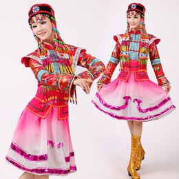 Wholesale Classical Clothing For Women - New fashion women Mongolian traditional dance clothes classical female stage performance clothing Chinese dance costumes for singers