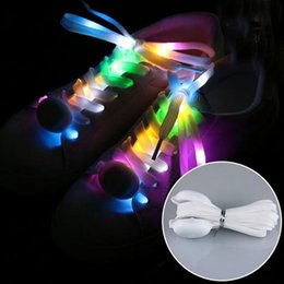 Wholesale Color Changing Led Light String - Fashion Light Up LED Shoelaces Seven Color Changing Flash Party Skating Glowing Shoe Laces for Boys Girls Luminous Shoe Strings ZA3744