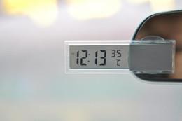 2019 verres ioniques Thermomètre électronique de véhicule de thermomètre de voiture de salon de voiture avec un thermomètre transparent de cristal liquide