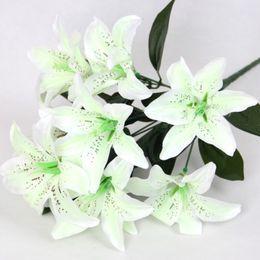 Wholesale Wedding Flower Bouquets Lily - Wholesale- Flower Artificial Lilies Bouquet 10 Heads Wedding Floral Home Decor Flower Real Touch Wedding Flower bouquet New