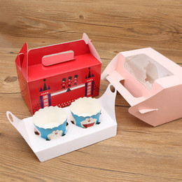 Wholesale Wholesale For Cupcake Packaging - 14.7x16.5x9.3cm British soldier circus cupcake boxes handles kraft paper cake box with window wholesalers Gift Packaging For Wedding 50pcs