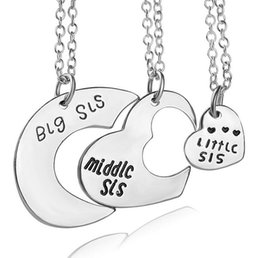 Wholesale Little Sister Charm - Best gift Good Sisters Friendship Pendant Little Middle Big Sister Love Mosaic Necklace WFN462 (with chain) mix order 20 1set=3 pieces