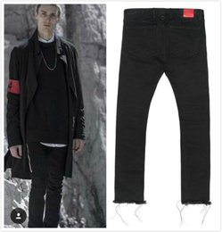 Wholesale M Edge Light - Wholesale-Mens Black Skinny Jeans 424 FourTwoFour Side Zipper Raw Edges Men Designer Denim Jeans Kpop Streetwear Free Shipping