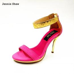 Wholesale high heels platform rose - summer women bling platform size 32 33 40 zipper sandals sexy color block rose women's banquet shoes high heels sandals