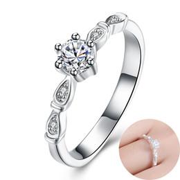 Wholesale Beautiful China Girls - Wedding Ring Inlaid Shiny Zircon Ring Women Girl Beautiful Engagement Ring Inlaid Imitation Diamonds Jewelry Fashion Brand Accessories Gifts