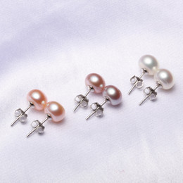 Wholesale 925 Silver Earrings Red - 9MM Freshwater Pearl Stud Earrings 925 Sterling Silver plated Jewelry Ball Shape Pear charml Women Stud Earrings