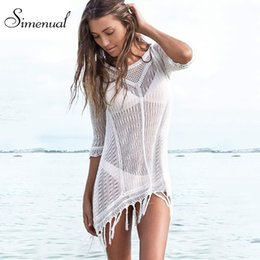 Wholesale Short Dress Fringes - Wholesale- Tassel sexy hot knitted summer dress swimwear 2016 solid slim white beach output mini dresses ladies fringe hollow out pareos
