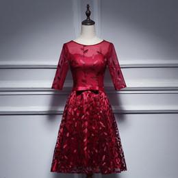 2019 vestidos de quinceañera En Stock Vino Vintage Tul rojo con bordado Cuello redondo Manga media Vestido de bola Longitud de té Encaje Hasta Corto Vestido de noche Onepiece