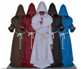 trajes de super-heróis de mulheres adultas Desconto Sunshine Phi Halloween O Medieval Times Monges E Sacerdotes Frade Robe Assistente Ministro Christian Church Cos Serve
