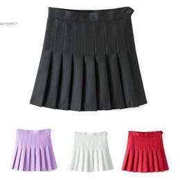 Wholesale Sexy Black Mini Skirt Women - 2017 Designer Sexy women clothing High Waist A-Line Pleated Skirt Tennis Solid Mini Skirt Above Knee Casual White Wine Red Purple Black
