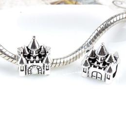 Wholesale Pandora Castle - 925 Silver Castle pendant Big Hole Loose Beads Pandora DIY Jewelry Bracelet Pendant European Style Bracelet Necklace accessorie