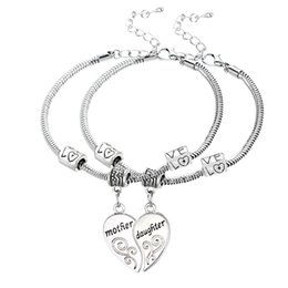 Wholesale Mothers Jewelry Charms - Wholesale-2PCS Silver Plated Mother Daughter Broken Heart Bracelet Bangle Mom Women Girl Femme Charm Statement Jewelry Party Wholesale
