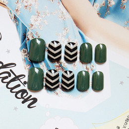 Wholesale Fake Nail Patterns - Wholesale- Blackish green stripped pattern fake nails Japanese pure color false nails 24pcs with glue short size full nail tips Nail art