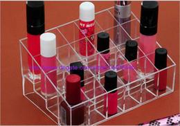 Wholesale Lipstick Earrings - 60pcs a lot 24 Lipstick Holder Display Stand Clear Acrylic Cosmetic Organizer Makeup Case Sundry Storage make up organizer organizador