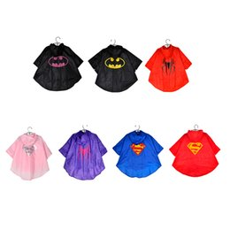 Wholesale Raincoat Spiderman - MOQ=1pcs superman batman spiderman superhero kids waterproof Rain Coat children Raincoat Rainwear 7 colors options with bags