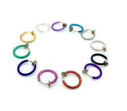 Wholesale Goth Silver Ring - 2017 Fashion Multi Colors Clip on Nose Lip Ear Fake Stud Earrings Punk Goth Septum False Hoop Navel Body Piercing Jewelry