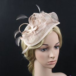 Wholesale Sinamay Cocktail Hat - European Lady Flower Feather Sinamay Hat Wedding Fascinator Hairband Hair Accessories Women Headwear For Wedding Cocktail Party