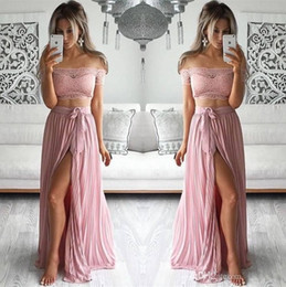 Wholesale Two Sided Belt - 2017 Blush Lace Two Pieces Prom Dresses Off Shoulder A Line High Split Side with Belt Formal Evening Gowns Dresses
