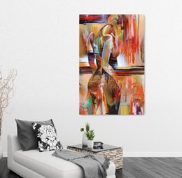 Wholesale Sexy Nude Painted Girls - Colored Drawing Body Art Portrait Painting Sexy Girl Nude Figure Oil Painting Home Decor Wall Art Canvas Painting For Living Room Wall Decor