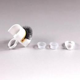 Wholesale Eyelash Kit Glue - Eyelash Extension Glue Ring Adhesive Eyelash Pallet Holder Makeup Kit Tool Eyelash Finger Holder Beauty Tools CCA8386 100pcs