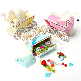 Wholesale Pink Wedding Box Favors - Wholesale- 3pcs Lovely Wedding Event Supplies Decoration Accessories Stroller Pink Blue Baby Shower Baptism DIY Candy Favors Gift Bag Box