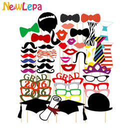 Wholesale Booths Bows - Wholesale-2016 Graduation 46pcs lot Photo Booth Props Photography Glasses Mustache Lip Bow Party Decoration
