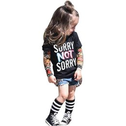 Wholesale Tattoo Sleeve Set - Wholesale- Newborn Baby Rompers Baby Clothing Set Fashion Summer Cotton Infant Jumpsuit Long Sleeve Tattoo Print T-shirt Tops Clothes