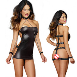 Wholesale Latex Dress Product - Black Sexy Lingerie Dress Women PVC Catsuit Sexy Stripper Pole Fetish Wear Role Play Games Latex Catsuits Adult Sex Product