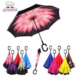 Wholesale Sunny Fashion - 2017 Fashion Windproof Reverse Double Layer Folding Inside Inverted Umbrella Long-Handle Umbrella Sunshade C-Shaped Handle Proof Ultraviolet