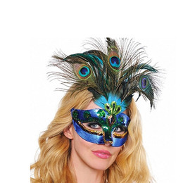 Wholesale Peacock Costume Girls - New Women Elegant Peacock feather Mask Girls Costume Sexy Prom Party Halloween Christmas Masquerade Dance Masks Accessories ZA2659