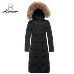 Wholesale Over Coat Jacket - [Aiweier]2017 Womens Down Jackets Autumn Winter X-Long Slim Thickened Loose Over Size White Duck Down Solid Down Coats K5034