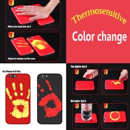 Wholesale Temperature Sensor Color - Thermosensitive Color Change Case Magical PU Fingerprint Cover Temperature Sensing Thermal Sensor Heat Shell For iPhone X 8 7 Plus 6 6S