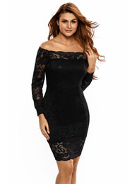 Wholesale Elegant Dress Lace Pencil - Fashion black lace sexy party dress Hollow off-shoulder long sleeve autumn elegant women bodycon dress evening Cocktail prom dress vestidos