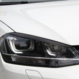 Wholesale Chrome Carbon Fiber Vinyl - 2 pcs lot Headlights Eyebrow Eyelids ABS Chrome Trim Cover for Volkswagen VW Golf 7 MK7 GTI Car Styling