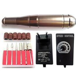 Wholesale Steel Drilling Machines - Wholesale- Professional auto nail polishing buffing  nail polishing machine  steel electric grinder handle guns with 1 set nail drill bits
