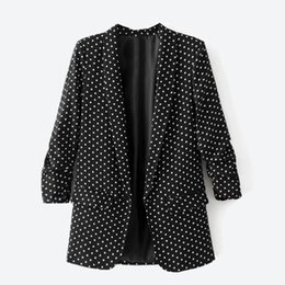 Wholesale Women Blazer Cuff - Europe and The United States Women's Suits & Blazers Dot Printing Casual Suits Casual Jacket Blouse Cuff Ruched Fashion Style