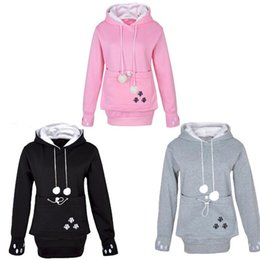 Wholesale Pet Sleeves - Raodaren Women Cat Lovers Hoodies with Cuddle Pouch Dog Pet Hoodies for Casual Kangaroo Pullovers with Ears Sweatshirt Drop Shipping
