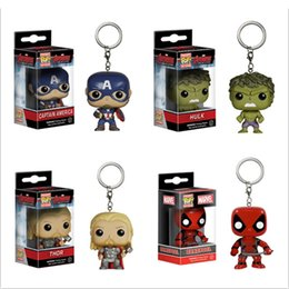Wholesale Avengers Funko - New Funko Pop 3D Cartoon Keychain Accessories Avengers with light Kids Toys Key Ring Chain Gifts Item Wholesales